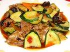 ラム肉とズッキーニの炒め物:赤穂飯店